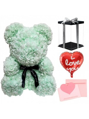 Light Green Rose Teddy Bear Flower Bear with Balloon, Greeting Card & Gift Box for Mothers Day, Valentines Day, Anniversary, Weddings & Birthday