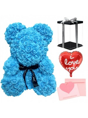 Blue Rose Teddy Bear Flower Bear with Balloon, Greeting Card & Gift Box for Mothers Day, Valentines Day, Anniversary, Weddings & Birthday