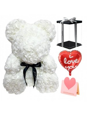 White Rose Teddy Bear Flower Bear with Balloon, Greeting Card & Gift Box for Mothers Day, Valentines Day, Anniversary, Weddings & Birthday