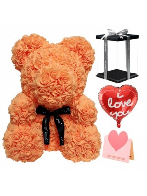 Orange Rose Teddy Bear Flower Bear with Balloon, Greeting Card & Gift Box for Mothers Day, Valentines Day, Anniversary, Weddings & Birthday