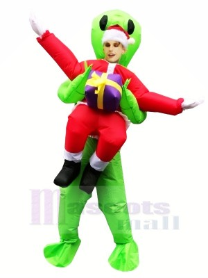 Inflatable Carry Me Christmas Santa Claus ET Green Alien Mascot Costumes Cartoon