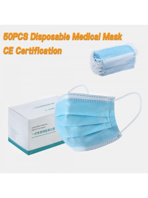 50PCS Disposable Face Mask 3 Ply Medical Masks Disposable Medical Masks Personal Protection