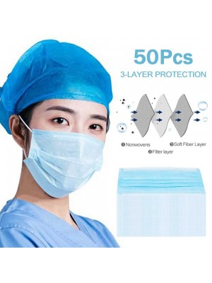 50PCS Disposable Face Mask 3 Ply With Elastic Ear Loop Filter Bacteria Face Masks Set