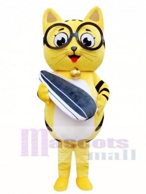 Yellow Cat Mascot Adult Costume