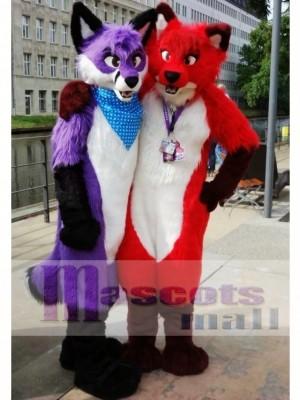 Fursuit Purple or Red Wolf Husky Dog Mascot Costume