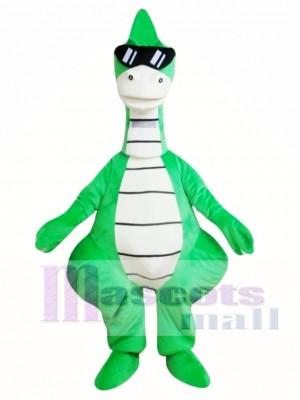 Cool Green Dinosaur Mascot Costume