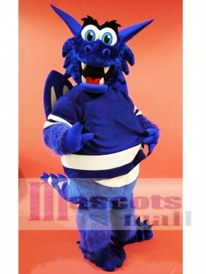 Blue Happy Dragon Mascot Costume
