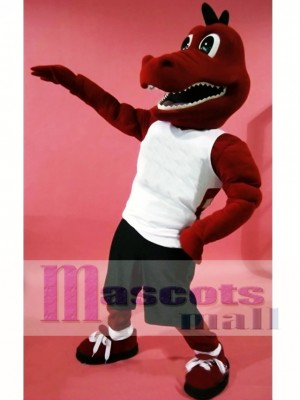 Sport Red Dragon Mascot Costume