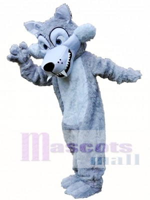 Long Grey Wolf Mascot Costume