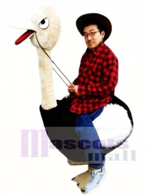 Riding an Ostrich Man Mascot Costume