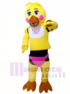 FNAF Five Nights At Freddy's Toy Chica Yellow Mascot Costume