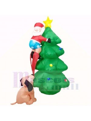 6ft Inflatable Santa Claus Climbing on Christmas Tree Chased by Dog with LED Lights Holiday Decoration Outdoor Yard Lawn Art Decor