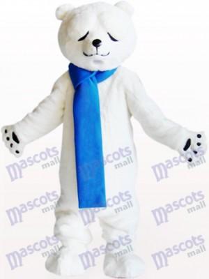 Polar Bear With Narrowed Eyes Animal Mascot Costume