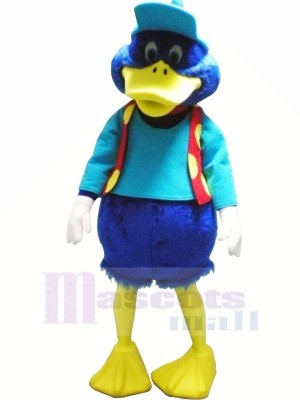 Blue Duck with Red Vest Mascot Costumes Animal