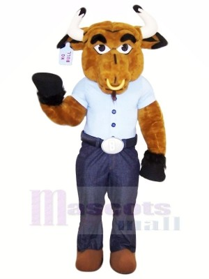 Strong Bull with Blue T-shirt Mascot Costumes Animal