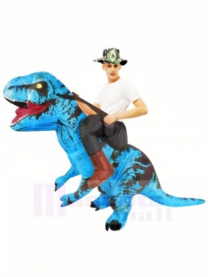 Blue Tyrannosaurus T-Rex Inflatable Carry Me Ride On Costume