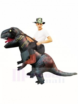 Gray Tyrannosaurus T-Rex Inflatable Carry Me Ride On Costume