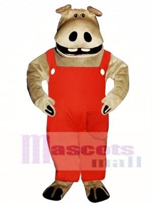 Hippie Hippo with Overalls Mascot Costume