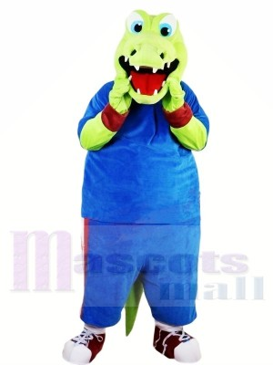Green Alligator with Blue Suit Mascot Costumes Animal