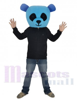 Blue Panda with Black Eyes Mascot Costume Head Only