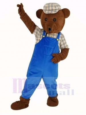 Teddy Bear in Blue Overalls Mascot Costume Cartoon