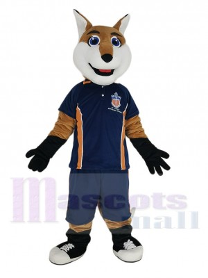 Smiling Fox in Blue Sport Shirt Mascot Costume