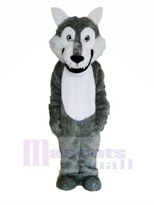 Cute Gray Wolf Mascot Costumes Cartoon