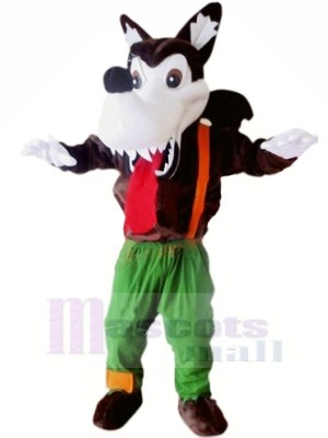 Wild Wolf with Long Tongue Mascot Costumes Cartoon