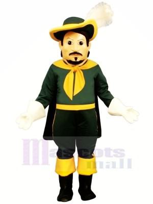 Cool Calvin Cavalier in Green Mascot Costume People