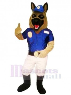 Police Dog with Blue Hat Mascot Costume Cartoon