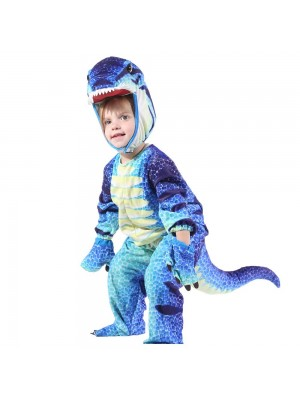 Blue T-Rex Dinosaur Costume Dinosaur Jumpsuit Halloween Christmas Dress up Gift for Kid