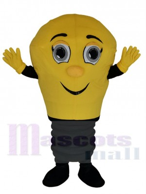 Smiling Yellow Lamp Light Bulb Mascot Costume