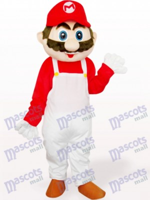 Captain Mario In White And Red Clothes Anime Adult Mascot Costume