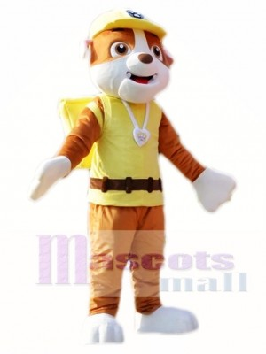 Paw Patrol Rubble Mascot Costume Yellow English Bulldog Costume