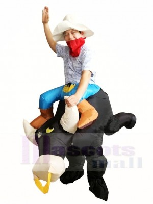 Cowboy Ride on Black Bull Inflatable Costumes for Adult