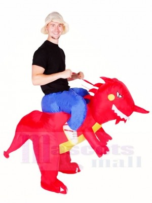 Ride On Red Dinosaur with Horn T-rex Inflatable Halloween Christmas Costumes for Adults