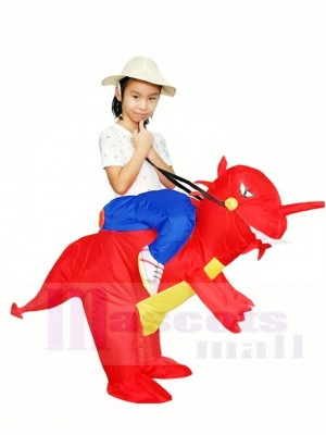 Ride On Red Dinosaur with Horn T-rex Inflatable Halloween Christmas Costumes for Kids