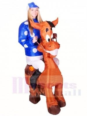 Ride on Horse Blow Up Jockey Inflatable Halloween Xmas Costumes for Adults