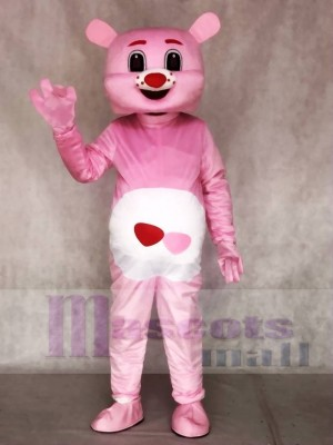 Pink Bear with Red Heart Mascot Costumes Animal