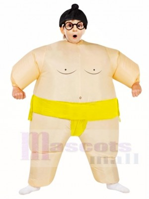 Yellow Japanese Fat Man Sumo Inflatable Halloween Christmas Costumes for Kids