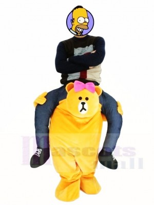 Piggyback Line Town Friends Choco Carry Me Ride on Brown Bear Mascot Costumes
