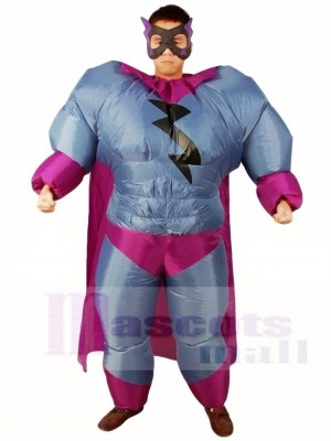 Fat Superman Grey Superhero Inflatable Halloween Xmas Costumes for Adults