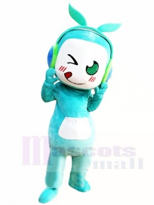 Blue Music Boy with Leaves Headset Mascot Costumes People