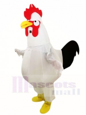 White Chicken Cock Rooster Mascot Costumes Poultry Animal