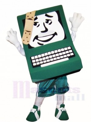 Green Computer with Band-aid Mascot Costumes