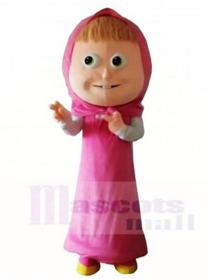 Pink Hood Dress Girl Mascot Costumes