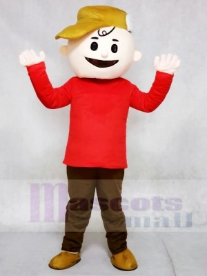 Red T-shirt Boy with Brown Hat Charlie Brown from Snoopy Dog Mascot Costumes