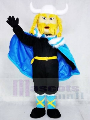 Thor the Giant Viking with Blue Cloak Mascot Costumes People