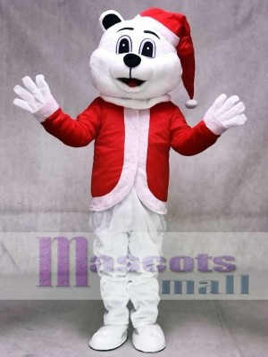 Sugar Plum Bear Mascot Costume with Christmas Hat and Suit