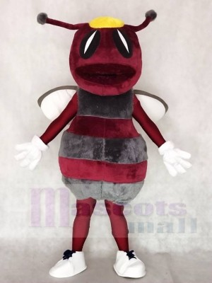 Maroon with Gray Hornets Bee Mascot Costumes Animal